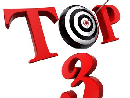 top 3 red word with target isolated on white background. clipping path included