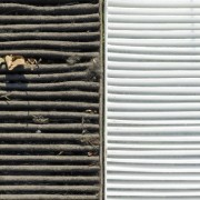 half by half fragments of dirty and clean air filters